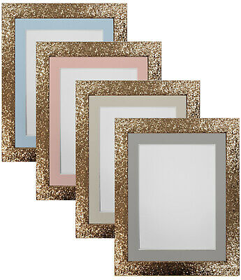 Cabaret Gold Picture Photo Frames with Blue, Pink, Light and Dark Grey Mounts