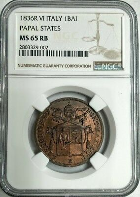 1836-R Italy Papal States 1 Baiocco  - NGC MS65 RB - PRICED RIGHT