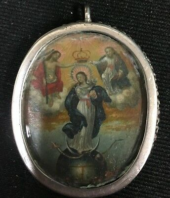 Antique Silver Religious pendant Two-Sided Reliquary French ? 17th-18th Century