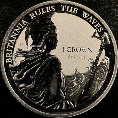 2017 Falkland Islands Reverse Proof Britannia Rules the Waves 1 Oz Silver Coin