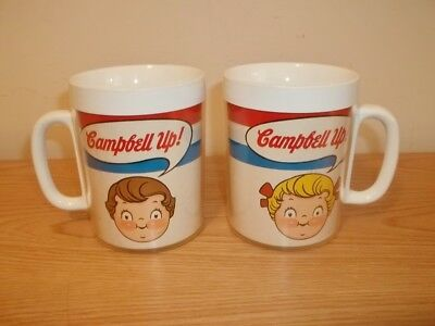 Vtg 2 West Bend Thermoserv CAMPBELLS SOUP BOY & GIRL Campbell Up Coffee Mug Cups