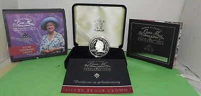 2000 £5 Crown UK The Queen Mother Centenary Year Proof Silver COIN 28g +COA &Box