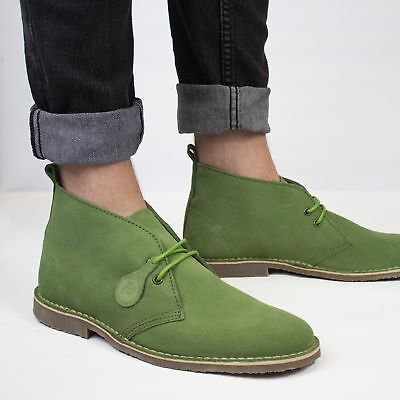 befd6f203696 Popps COLOUR Unisex Mens Ladies Summer Chukka Suede Desert Boots Forest  Green