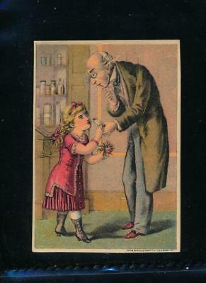 Victorian trade card, Dr Isaac Thompson's EYE WATER, girl and old man