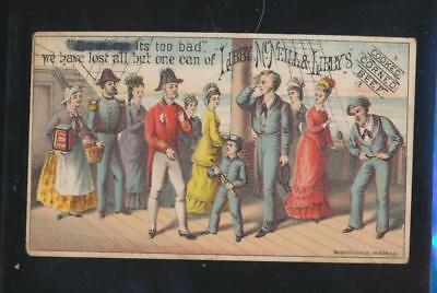 Victorian trade card, Libby McNeills Corned Beef,  We Have Lost all but one can