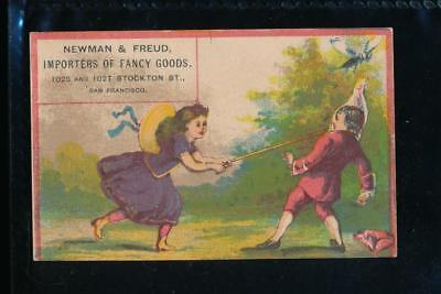 Victorian trade card, NEwman & Freud, Fancy Goods, San Francisco