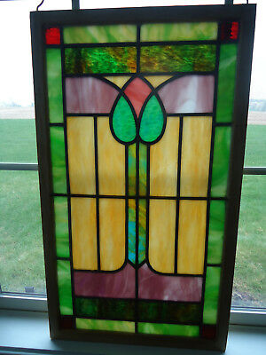 ANTIQUE LEADED STAINED GLASS SLAG GLASS WINDOW Circa 1920's-30's WOOD FRAME