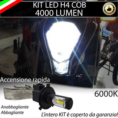 Kit Lampada Led H4 Cob 4000 Lumen 6000K 12V Per Moto Ktm Duke Ultraluminosa