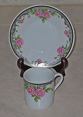 Lefton China Demitasse Cup & Saucer w/Silver Accents & Pink Roses 1994 #01709