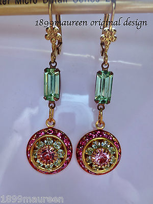 Art Deco earrings rose pink green dainty vintage style Art Nouveau Edwardian