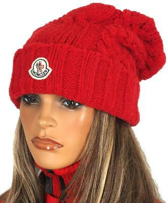 1dff18d254d New Moncler Red Soft Cable Knit Logo Embossed Lana Wool Beanie Hat One Size