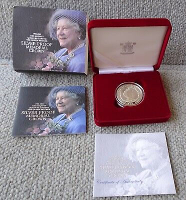 1900-2002 STERLING Silver Crown Queen Mother Memorial Proof £5 Five Pounds COIN