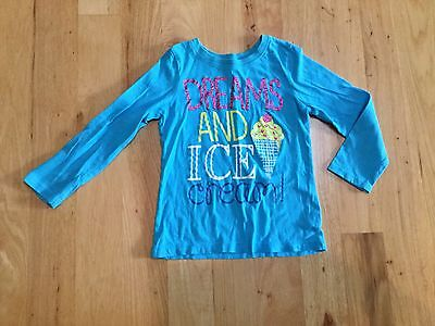 Girls Blue Long Sleeve Cotton Sparkle Ice Cream Shirt Childrens Place XS 4T 4