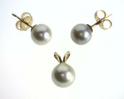 14K Yellow Gold 6-6.5mm Silver Pearl Earring and Pendant Jewelry Set. (B4885)