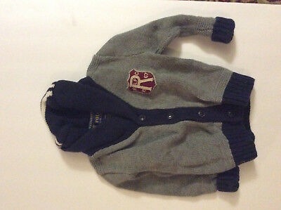 Infant Boys POLO RALPH LAUREN Gray/Blue/Red Sweater Size 18 Mths