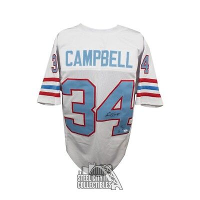 Earl Campbell HOF Autographed Houston Oilers Custom Football Jersey - JSA  (B) 92bfca3c5