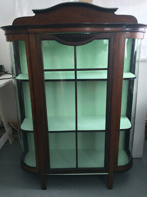 Antique Edwardian Display Cabinet Inlaid Mahogany Curved Glass Painted Grey Mint