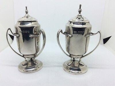 1913 Novelty Solid silver Trophy Cup Salt Pepper Shakers R F Mosley & Co