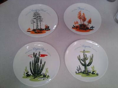 """VTG 50s BLAKELY OIL GAS GIVEAWAY, ARIZONA CACTUS DINNERWARE 6"""" SAUCER PLATES"""