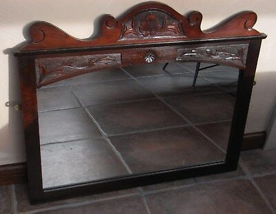 Antique Wall Mount or Mantle Mirror with Attractive Carved Detail