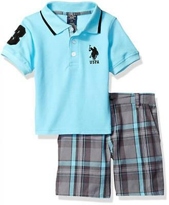U.S. Polo Assn Baby Boys S/S Blue Polo 2pc Plaid Short Set 3/6M 6/9M