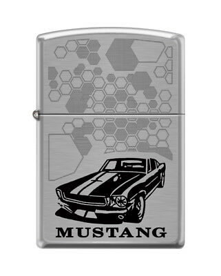 "Zippo ""Ford Mustang "" Brushed Chrome Finish Lighter, 5307"