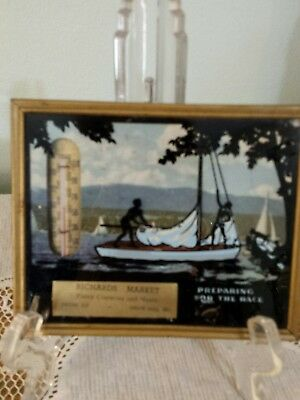 Vintage Framed Reverse Painted Silhouette Advertising Picture w/ Thermometer