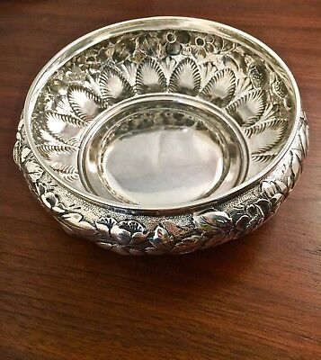 Whiting Mfg Co. Sterling Silver Bowl Floral & Strawberries Repousse: No Mono