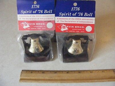 2 Bevin Brothers 1776 - 1976 Small Bicentennial Liberty Bell NOS Old Store Stock