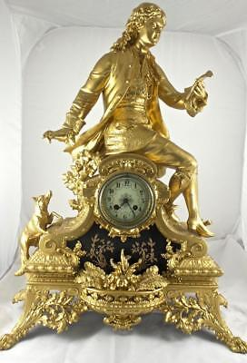 Rare Huge XL Antique 19th c French L.P Japy Figural 8 day mantle clock - Superb
