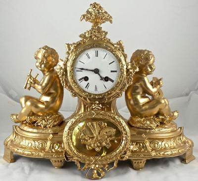 Antique French 1855 Japy Freres Twin Musical Cherub figural 8 day mantle clock