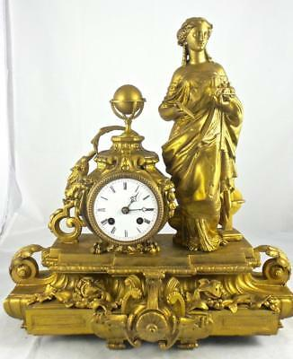 Stunning Antique French 19th c Figural Theme 8 day bell striking Mantle Clock