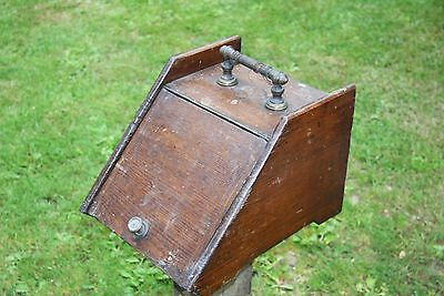 Antique solid oak coal box with brass handle andmetal liner