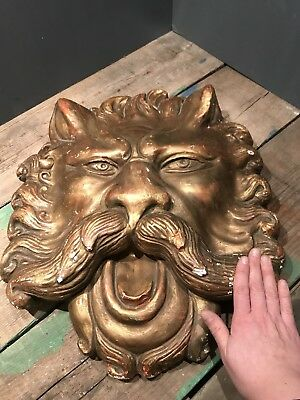 Antique Gold Gilt Plaster Chalkware Lion Head Mask Architectural Salvage Theatre