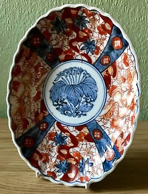 Antique Japanese Oval Fluted Imari Plate. Hand-Painted & Hand-Thrown. Vgc