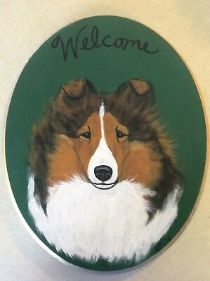 Hand Painted Sheltie Shetland Sheepdog Welcome Plaque Sign Sable