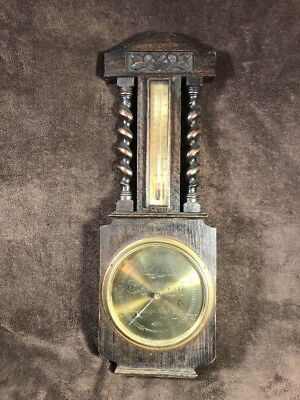 Antique J. Durkin English Barometer / Thermometer For Parts Or Repair