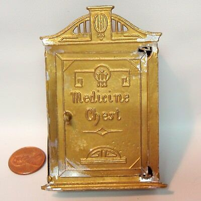 Antique German Dollhouse Toy Medicine Chest Art Deco Gilt Metal W Shelf Inside