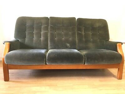 Cintique Green Plush Sofa  Vintage,Retro, Mid Century Design 1960s 1970s