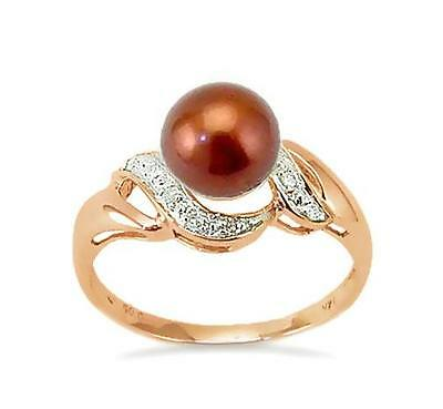 14K Rose Gold Pearl Ring 14K Chocolate Brown Pearl & Diamond Accent Band .05ct
