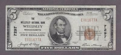 $5 1929 SCARCE WELLESLEY, MA National Bank Note!