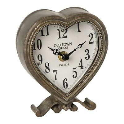 Heart Mantle Clock Shabby Chic Vintage Distressed Antique Brass Mantel