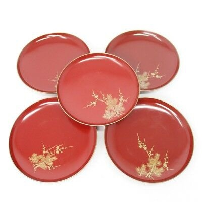 A019: Japanese old lacquered five HIKI-SAKAZUKI SAKE cups with good MAKIE