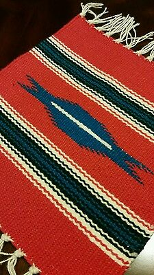 Chimayo 100 % Wool Textile Mat Red With Blue Center Made in Northern N.M USA