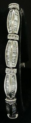 14K white gold elegant 10.00CT diamond fancy link bracelet