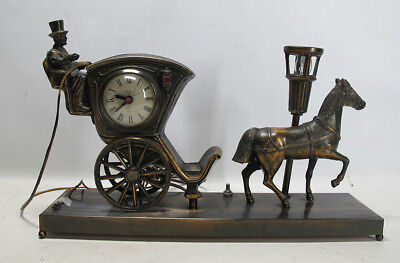 "Vintage United ""Hansom Cab"" Horse & Carriage Moving Clock Model 701 Light NR yqz"
