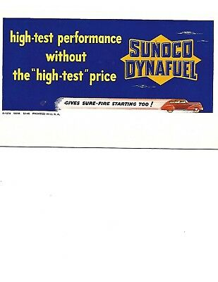 """Unused Blotter 1945 Sunoco Synafuel Without """"high-Test"""" Price Car Sure-Fire..!"""