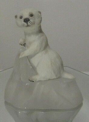 Sea Pup Otter Figurine With Glass Base, Franklin Mint