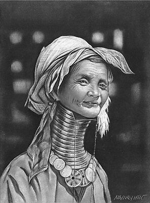 """Original Charcoal Drawing from Myanmar - """"Old Woman"""" by Local Artist - 11"""" x 15"""""""