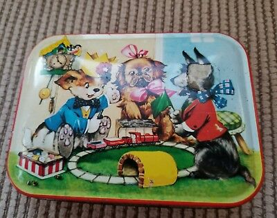 """Rare Vintage Thorne's Toffee Tin 3 Puppies playing with toy Train. 5.75x4.25x1"""""""
